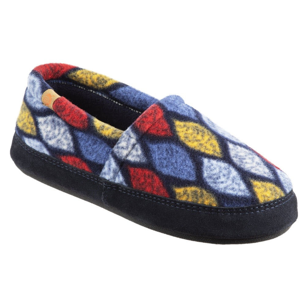 Women's Fleece Moc Slippers in Leaves Right Angled View