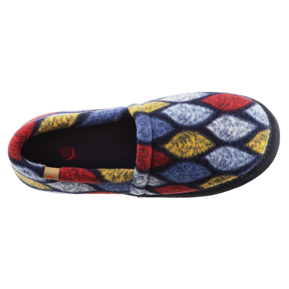 Women's Fleece Moc Slippers in Leaves Inside Top View