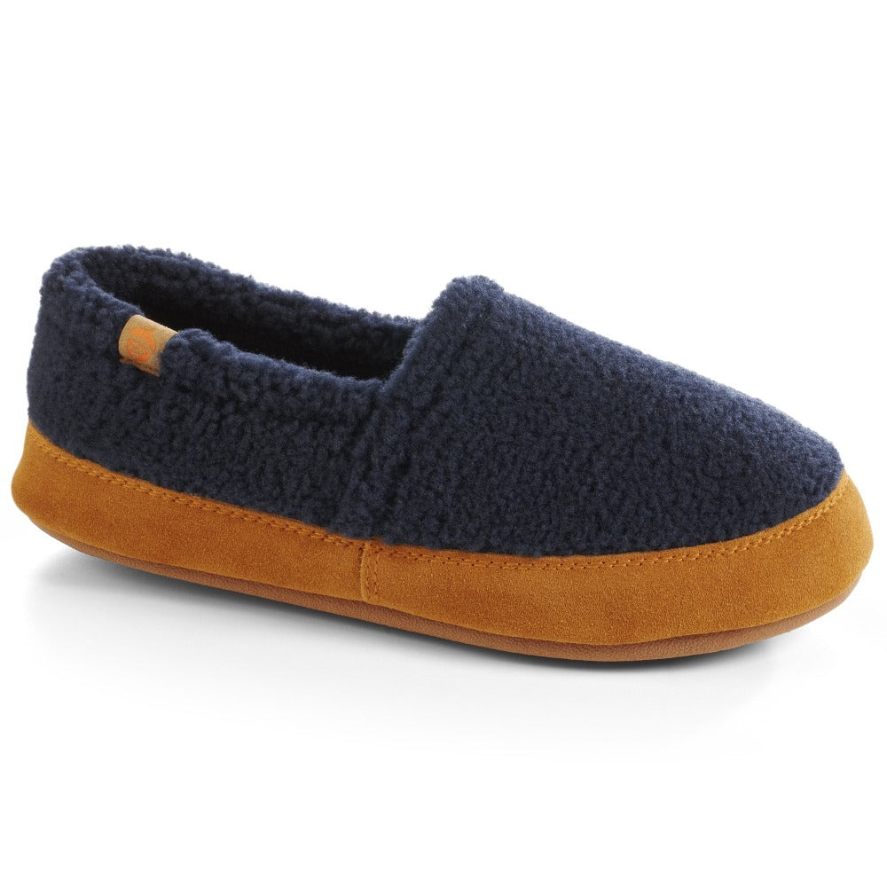Women's Fleece Moc Slippers in Navy Popcorn Right Angled View