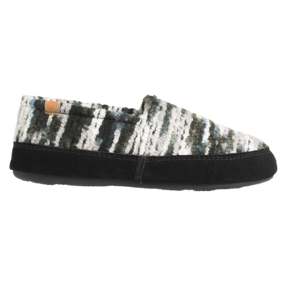Women's Fleece Moc Slippers in Wooly Stripe Profile