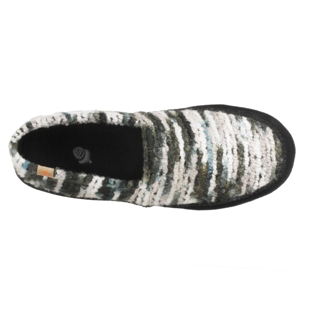 Women's Fleece Moc Slippers in Wooly Stripe Inside Top View