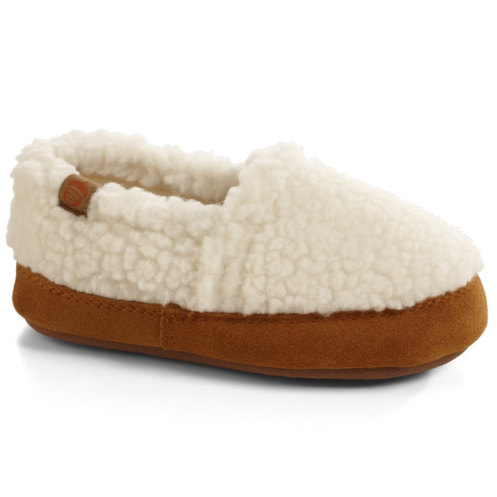 Kid's Original Acorn Moccasins in Buff Popcorn Right Angled View