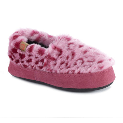 Kid's Original Acorn Moccasins in Pink Ocelot Right Angled View