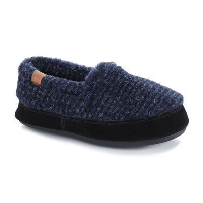 Kid's Original Acorn Moccasins in Navy Check Right Angled View