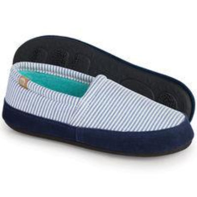 Women's Summerweight Moccasins in Blue Stripes Profile