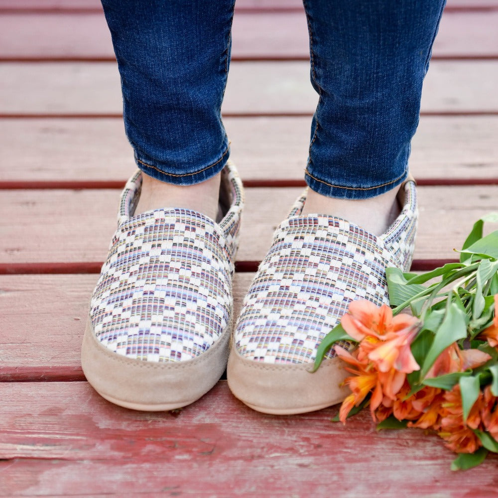 Women's Summerweight Moccasins in Pebble Diamond On Model with Flowers