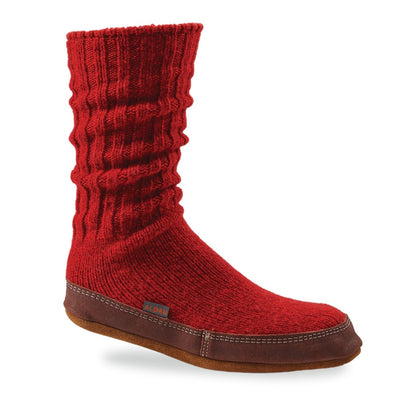 The Original Slipper Sock in Crimson Ragg Wool Side View