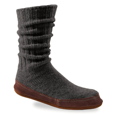 The Original Slipper Sock in Charcoal Ragg Wool Side View