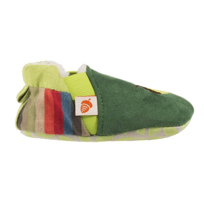 Toddler's Easy-On Animal Slippers in Green Squirrel Profile