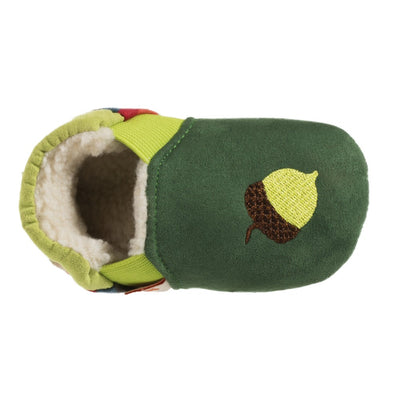 Toddler's Easy-On Animal Slippers in Green Squirrel Inside Top View