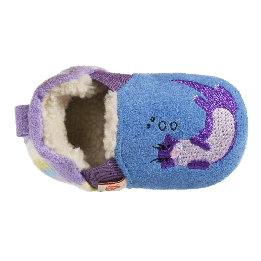 Toddler's Easy-On Animal Slippers in Ocean Blue Otter Inside Top View