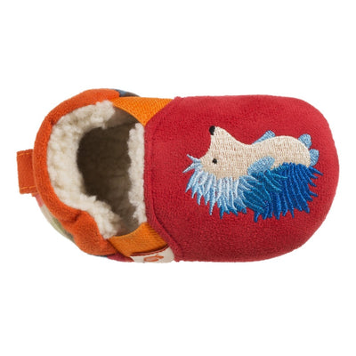 Toddler's Easy-On Animal Slippers in Red Hedgehog Inside Top View