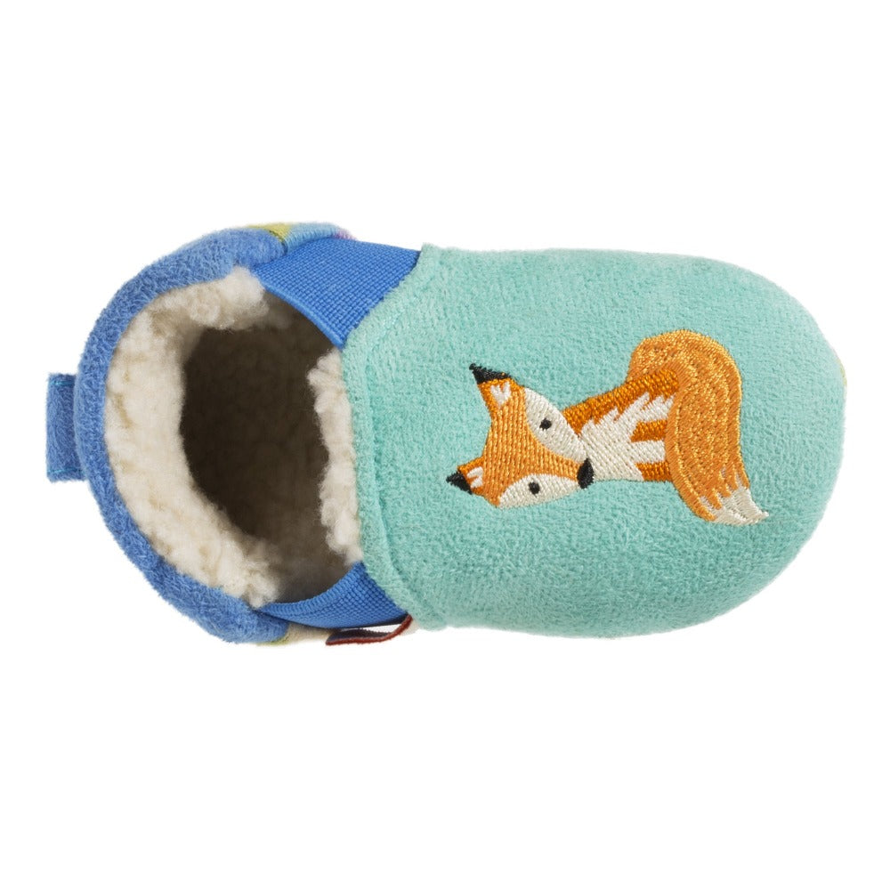 Toddler's Easy-On Animal Slippers in Teal Fox Inside Top View