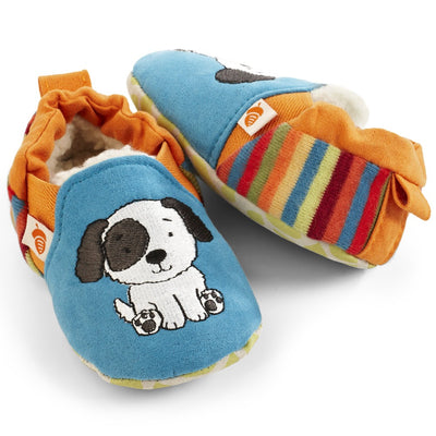 Toddler's Easy-On Animal Slippers in Teal Puppy Pair