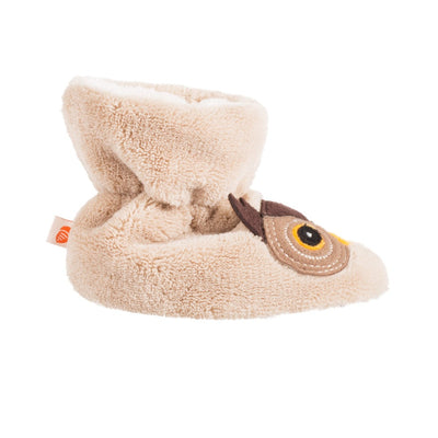 Toddler's Critter Booties Oatmeal Owl Profile
