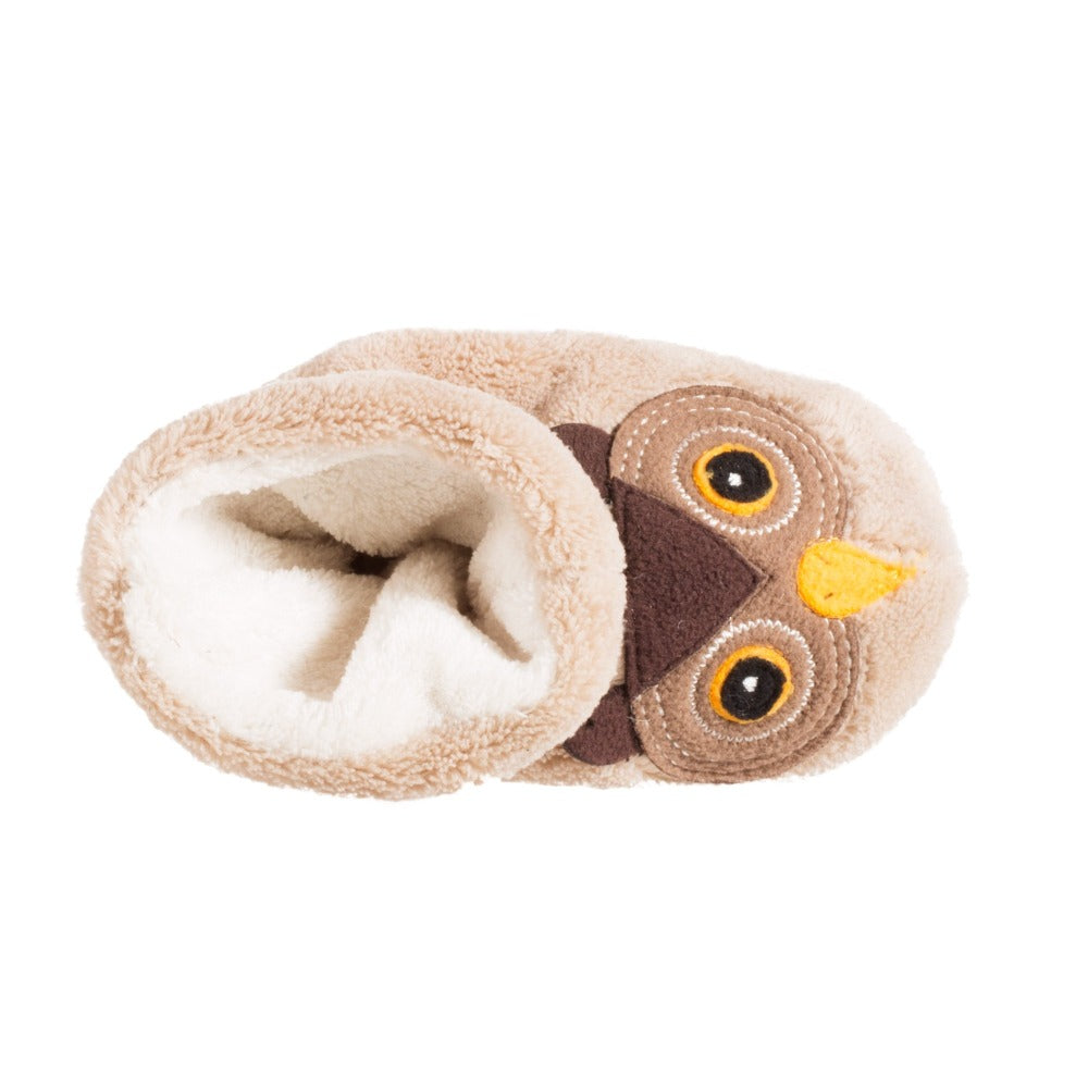 Toddler's Critter Booties in Oatmeal Owl Inside Top View