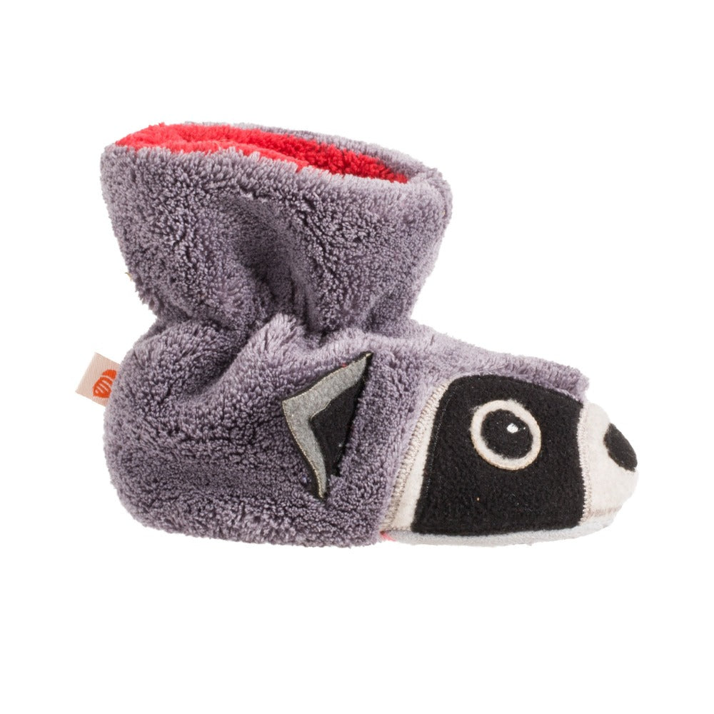 Toddler's Critter Booties in Raccoon Profile