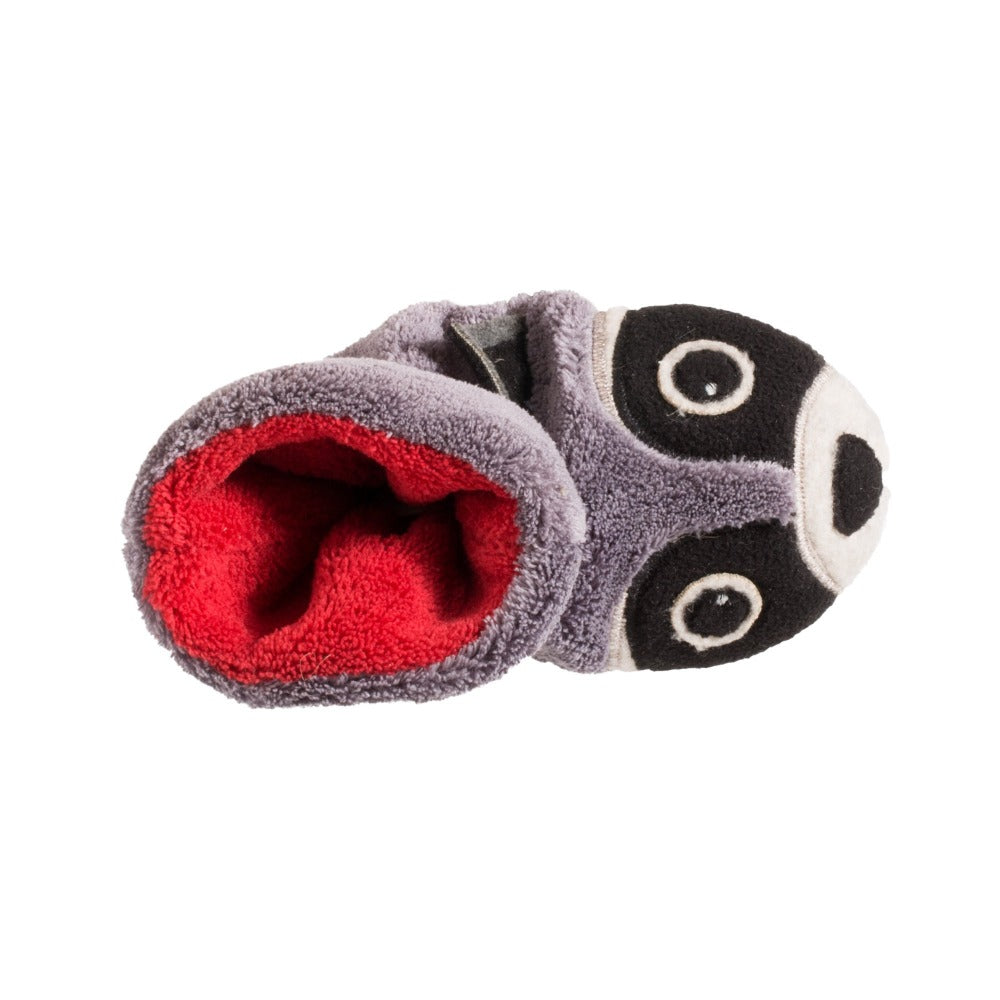 Toddler's Critter Booties in Raccoon Inside Top View