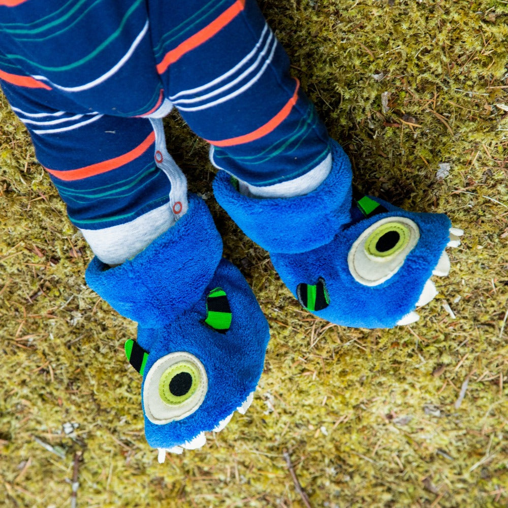 Toddler's Critter Booties in Monster on Model on Grass