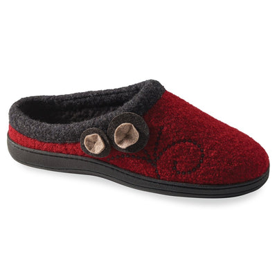 Women's Dara Boiled Wool Slippers in Currant Button Right Angled View