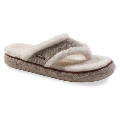 Women's Spa Thong Ragg Slippers in Grey Ragg Wool Right Angled View