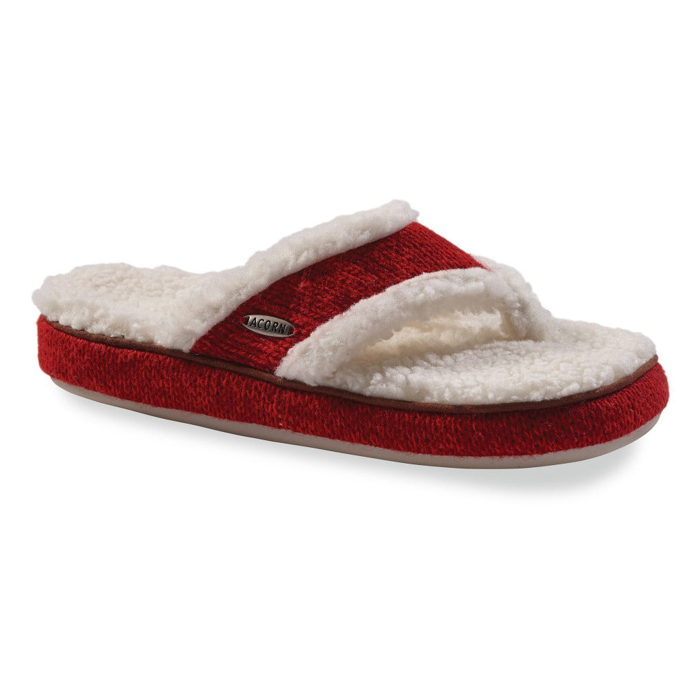 Women's Spa Thong Ragg Slippers in Red Ragg Wool Right Angled View