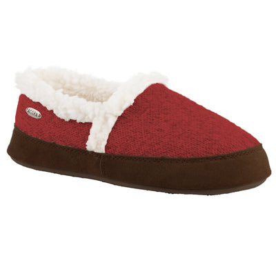 Women's Moc Ragg Slippers Red Ragg Wool Right Angled View