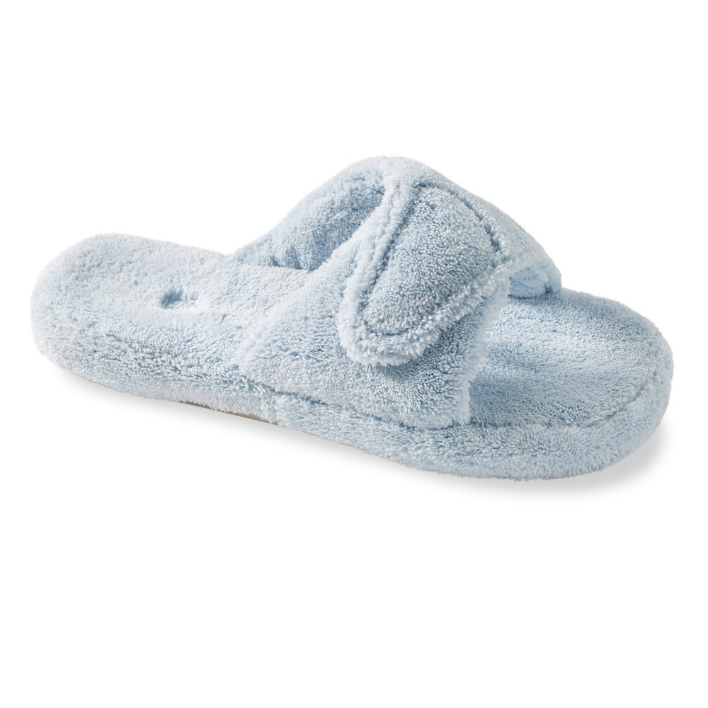 Women's Spa Slide Slippers in Powder Blue Right Angled View