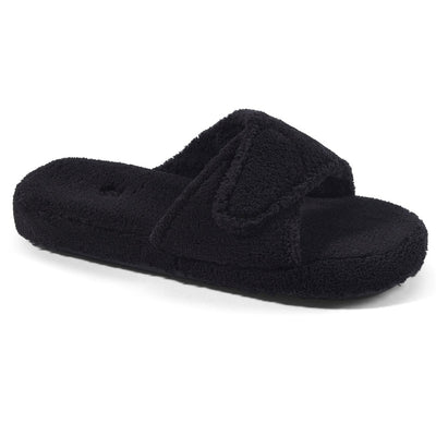 Women's Spa Slide Slippers in Black Right Angled View