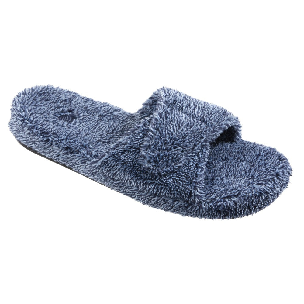 Women's Spa Slide Slippers in Navy Heather Side View