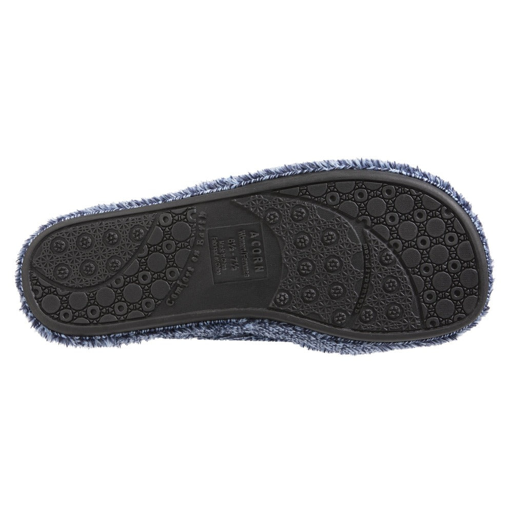 Women's Spa Slide Slippers in Navy Heather Bottom Sole Tread