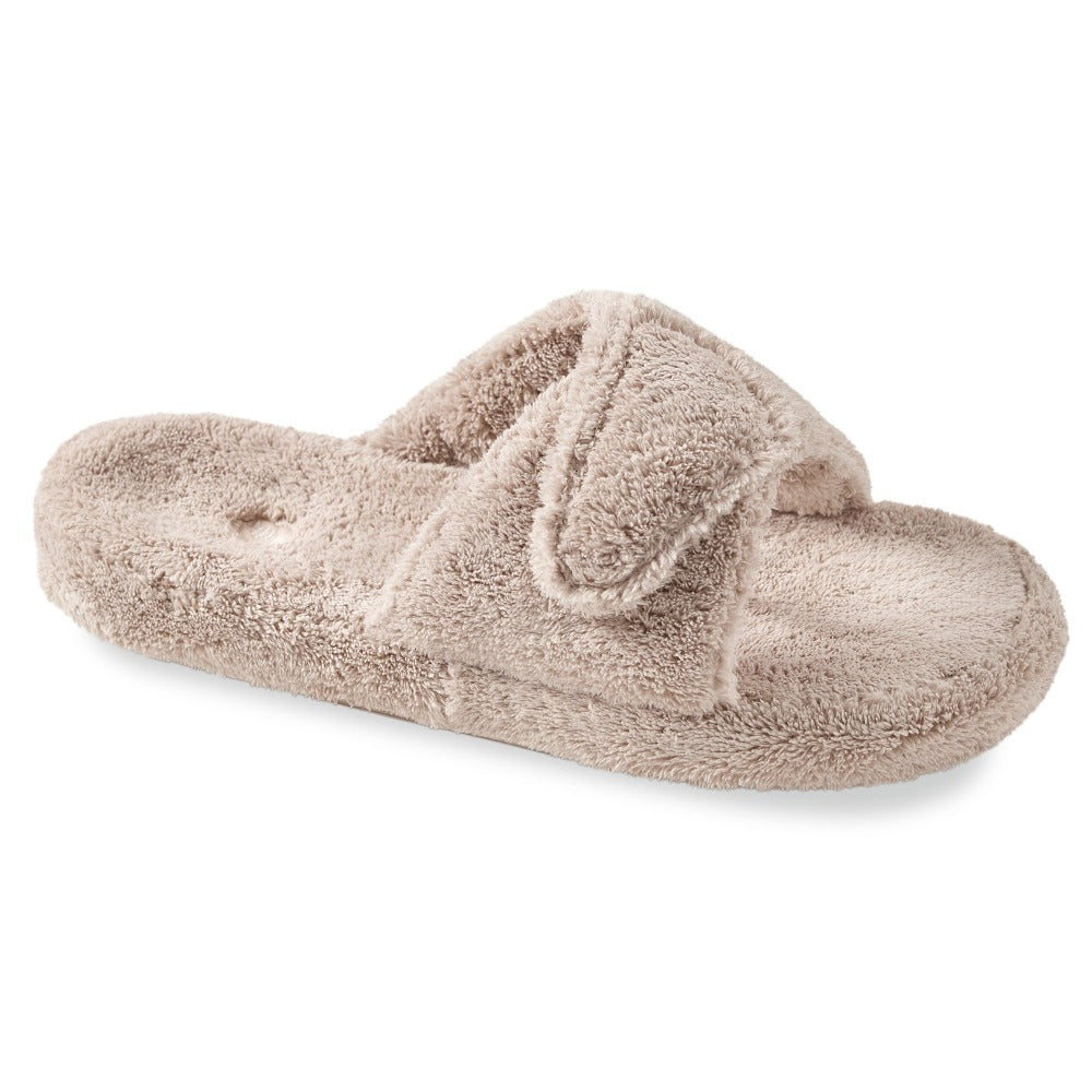 Women's Spa Slide Slippers in Taupe Right Angled View