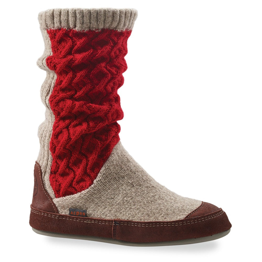 Women's Slouch Boots in Red Cable Knit Side Profile