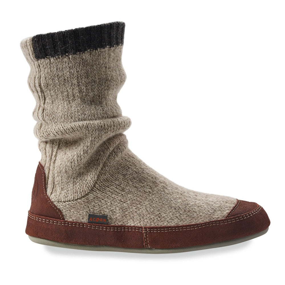 Men's Acorn Slipper Socks - Slouch Boots in Grey Ragg Wool