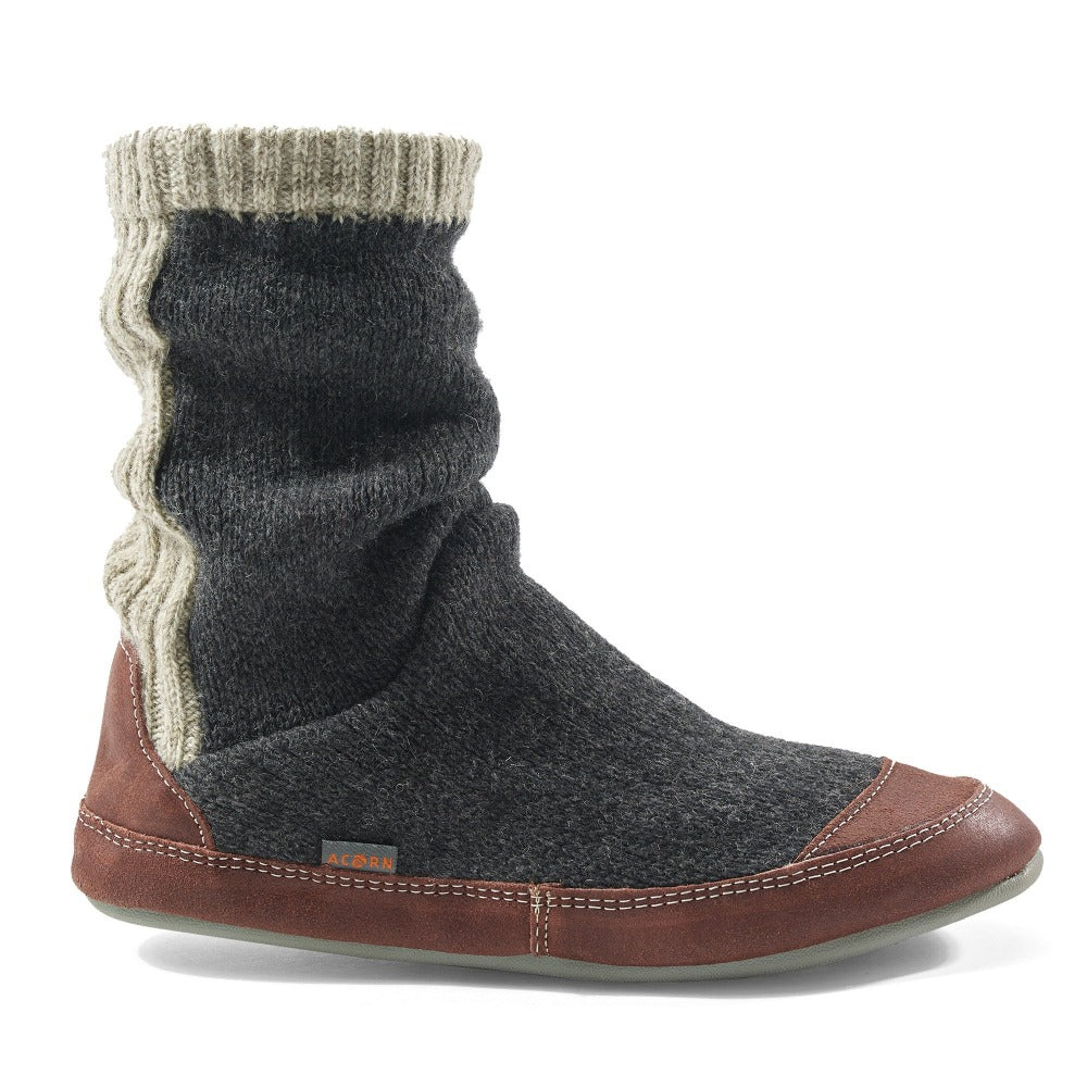 Men's Wool Slipper Sock. Slouch Boots in Charcoal Ragg Wool Profile
