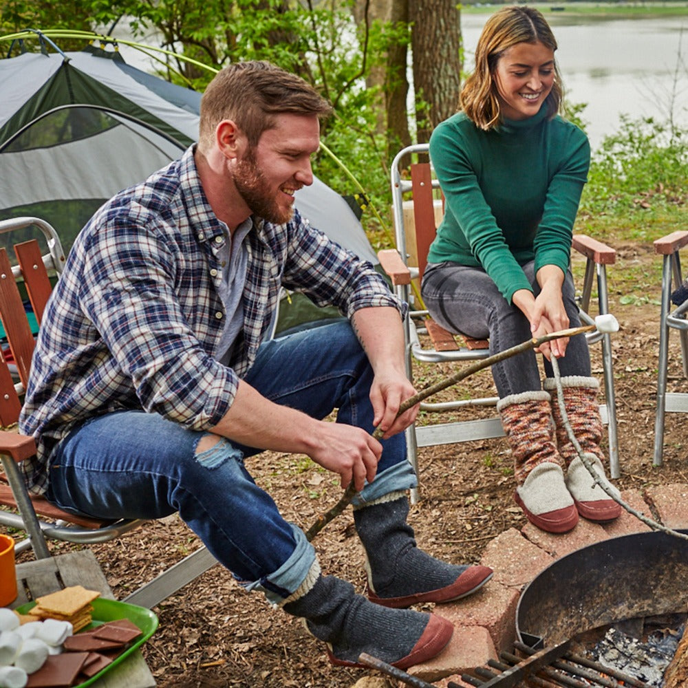 Men's Slouch Boots in Charcoal Ragg Wool On Model at Campsite with Women in Women's Slouch Boot
