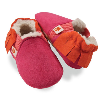 Toddler's Easy-On Acorn Slippers Pair in Magenta Fringe
