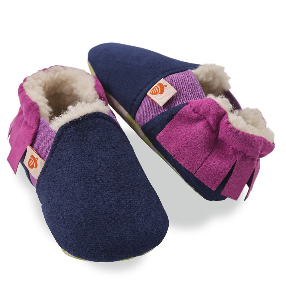 Toddler's Easy-On Acorn Slippers Pair in Navy Fringe