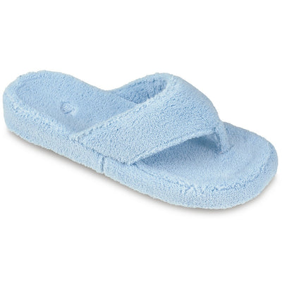 Women's Spa Thong Slippers in Powder Blue Right Angled View