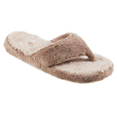 Women's Spa Thong Slippers in Taupe Colorblock Right Angled View