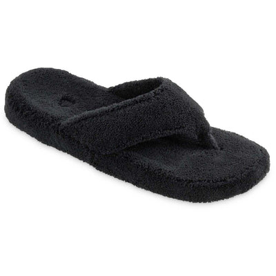 Women's Spa Thong Slippers in Black Right Angled View