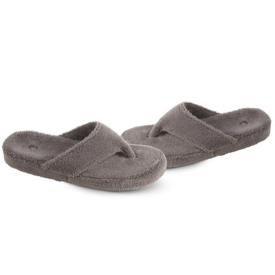 Women's Spa Thong Slippers in Grey Pair Side View