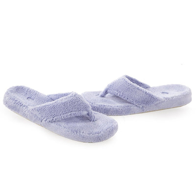 Women's Spa Thong Slippers in Periwinkle Right Angled View