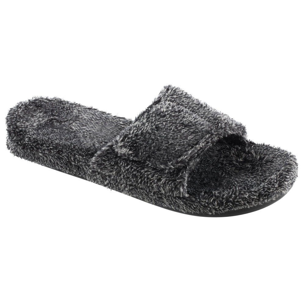 Men's Spa Slide Slippers in Black Right Angled View