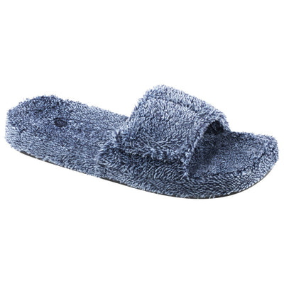 Men's Spa Slide Slippers in Navy Heather Right Angled View