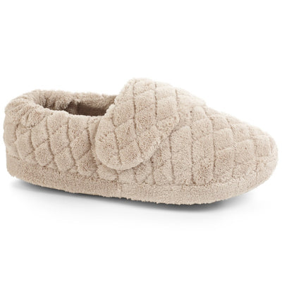 Women's Adjustable Spa Wrap Slippers in Taupe Right Angled View
