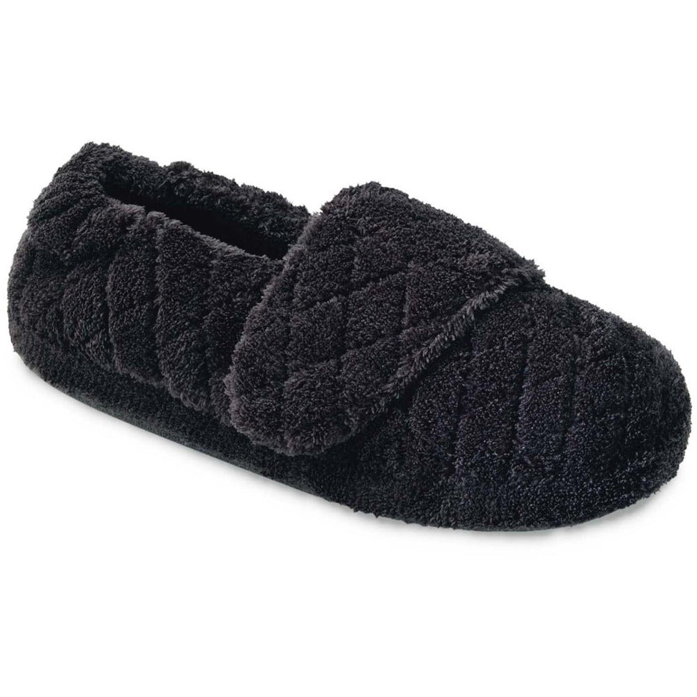 Women's Adjustable Spa Wrap Slippers in Black Right Angled View