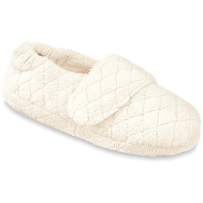 Women's Adjustable Spa Wrap Slippers in Natural Right Angled View