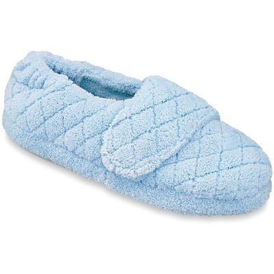 Women's Adjustable Spa Wrap Slippers in Powder Blue Right Angled View