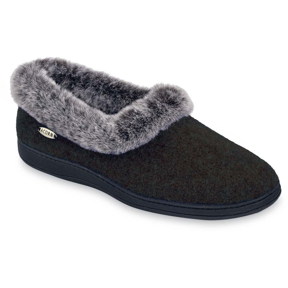 Women's Faux Fur Collar Slippers in Black Right Angle View